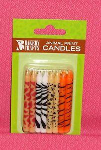 Jungle,Safari Print Birthday Candles,DecoPac, Multi-Color,24ct. Wax Cake Topper.