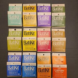 24 Packets Batikit Permanent Coldwater Fabric Dye For Natural Fibers 12 Colors