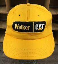 VTG Walker Machinery Caterpillar CAT Patch Snapback Hat Cap Yellow Foam USA Q