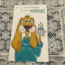 Vintage Greeting Card Birthday Cute Dog In Sweater Cat