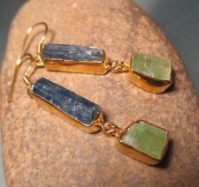 Sterling silver & 18k gold plate rough BLUE/GREEN KYANITE earrings. Gift Bag.