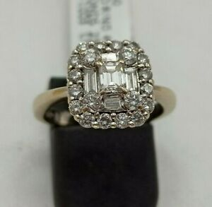 18k White Gold Diamond Tiered Cluster Ring, Size M