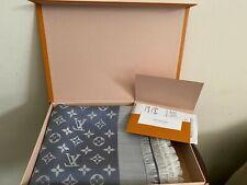 NEW LV BLUE Denim Monogram Scarf/Shawl 100% Authentic Louis Vuitton with receipt