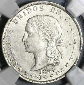 1884 NGC AU 55 Colombia 5 Decimos Medellin 50 Centavos Silver Coin (20012903C)