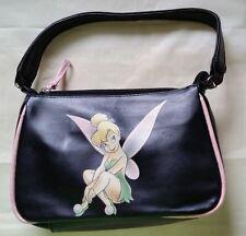 Disney Tinkerbell Girls Zippered Purse Small Handbag Black With Pink Trim