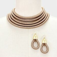 Sassy Chunky Gold H&M Balmain Style 5 Layer Coil Choker Statement Necklace Set