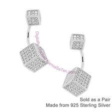 Plata Esterlina & CZ Elegante Cubos Front & Back Earring Ear chaquetas