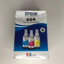 Epson 664 EcoTank 3 Pack Color Combo Ink Bottles Printer Ink Refill - 05/2021
