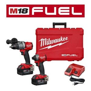 M18 FUEL Hammer Drill Impact Driver Cordless Combo 2 Tool Kit w/ Battery Charger