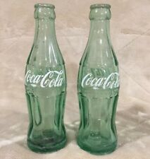 VTG Set 2 Coca Cola Coke 6.5 Ounce Green Glass Soda Pop Bottles Advertising