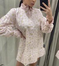 Zara Pink Floral Printed Shirt Dress. Size M