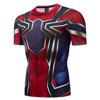Superhero Spiderman Mens Costume Cosplay Compression Gym Workout Fitness T-shirt