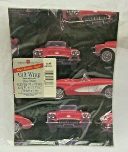 VTG American Greetings Gift Wrap Classic Chevy Corvette 1958 Car Wrapping Paper