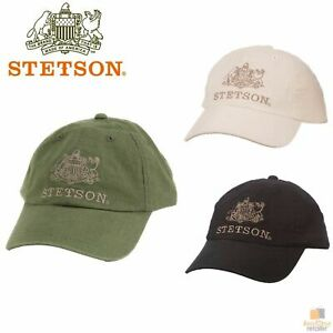 STETSON Linen Cotton Premium Baseball Cap with Leather Back Strap Summer STC213