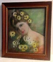 Cadre tableau PASTEL PORTRAIT DE FEMME aux fleurs XXEME signé encadré 52 x 45 cm