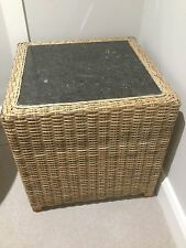 """Stunning Heavy Rattan Side Lamp Table With Thick Marble Top 21"""" x 21"""" x 21"""""""