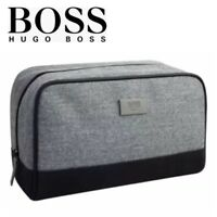 HUGO BOSS Wash Bag Shave Travel Holiday Mens Toiletry Pouch Grey 100% GENUINE