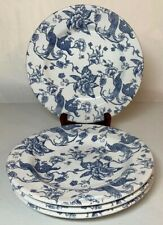 """Staffordshire 8"""" Luncheon Plates (4) Blue And White Bird Of Paradise"""
