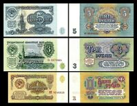 Russie -  2x  1, 3 , 5 Roubles - Edition 1961 Polyglot - Reproduction - 07