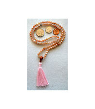 6mm Sunstone Prayer Beads Hand Made Japa Mala Karma Necklace