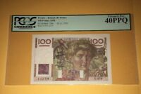 PCGS Currency Graded France- Banque De France 100 Francs Banknote 1950 P128c