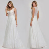 US Ever-Pretty Floral Lace V-neck Long Evening Party Dresses Wedding Prom Gowns