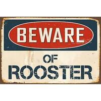 Metal Sign Warning Beware Rooster Garage Home Wall Cave Store Shop Tin Decor Art