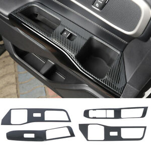 Steel Carbon Fiber Inner Door Window Lift Switch Cover For Ford Explorer 2020-21