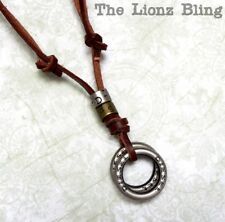 Urban Vintage style Genuine Leather Slipknot Necklace Double Ring DIESEL Pendant