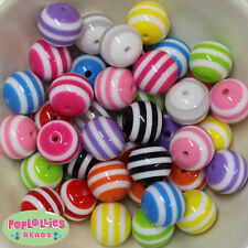 Mixed Color Striped 20mm Chunky Resin Bubblegum Beads Lot 20 pc.