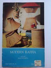 Vintage 60's Raffia craft pattern book - raffia lamp shades, plant pot holders,