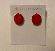 NWT Kendra Scott Morgan Matte Magenta Stud Earrings Hot Pink Unbanded Agate
