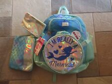 NWT JUSTICE (Limited Too!) I'm Really a Mermaid 5 Piece Shimmery Backpack, Lunch