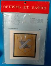 """Crewel By Cathy 133 Tennis Crest Yellow 12 x 14 inch """"Tain't Braggin...."""" New"""