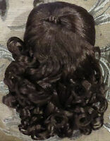 """#509 14"""" Fine Syn Dk Brown Mohair Wig """"Robyn"""" for Antique Bisque Doll or any"""