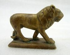 Antique Old Rare Hand Carved Brass Small Beautiful Standing Lion Figurine Statue