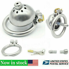 Stainless Steel Male Chastity Device Belt Super Small Short Cage Ring Lock A269