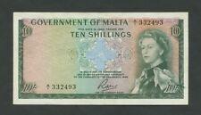 More details for malta  10 sh  1963  qeii  krause 25  banknotes