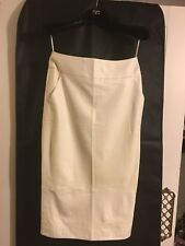 CHANEL WHITE LEATHER PENCIL SKIRT SIZE FR36. UK8