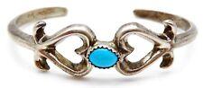 Vintage F.L. BEGAY Sterling Silver / Turquoise Navajo Ladys Cuff Bracelet