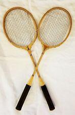 Pair of Vintage National King Wood Badminton Rackets Perfect Man Cave Display