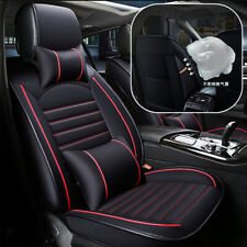 Universal 5-seats PU Leather Car Seat Slip Cover Cushion Pad Black+Red w/ Pillow