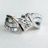 Fashion Noble White Sapphire Ring 925 Silver Wedding Rings For Women Size 6-10