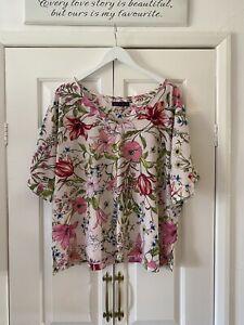 Marks and Spencer Top UK 22 Pink Floral Short Sleeve Box Fit V Neck Smart Work