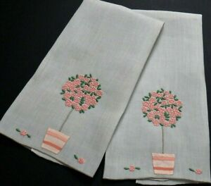 """Madeira MARGHAB """"Rose Tree"""" Embroidery Linen Guest Towels Pink&Dove Gray VINTAGE"""