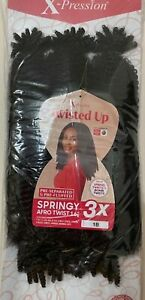 """Outre Expressions Twisted Up Crochet Braids - Springy Afro Twist 16"""" Colour 1B"""