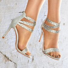 Ladies Diamante Strappy Stiletto Sandal Shimmer Party Heels Shoes for Women Size