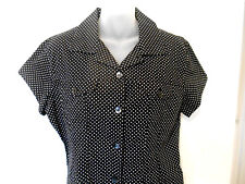 CHICOS  Beautiful Polka Dot Blouse, Button up, Pockets, Black/White Fitted, Sz 1