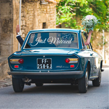 JUST MARRIED Car Sticker Wedding Day Window Decal  Decoration Sign
