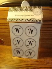 "WEDDING: "" N "" Monogram Initial Letter Envelope Seals Floral Black/White #18ct."